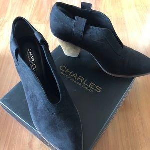 Black micro suede booties